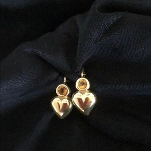 Jewelry - 14k Gold heart with yellow stone earrings